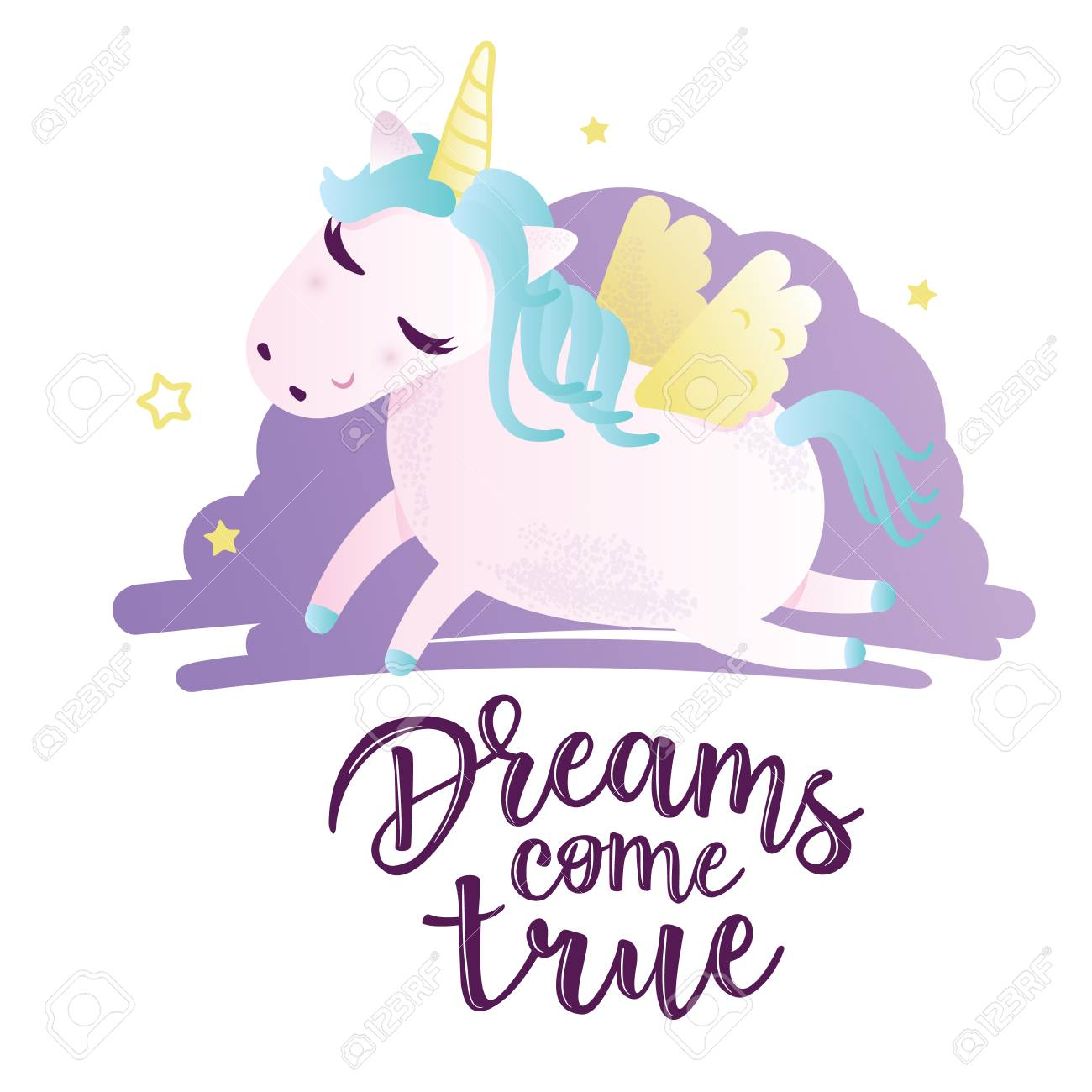 Vector Illustration Of A Cute Unicorn Greeting Card With Dreams