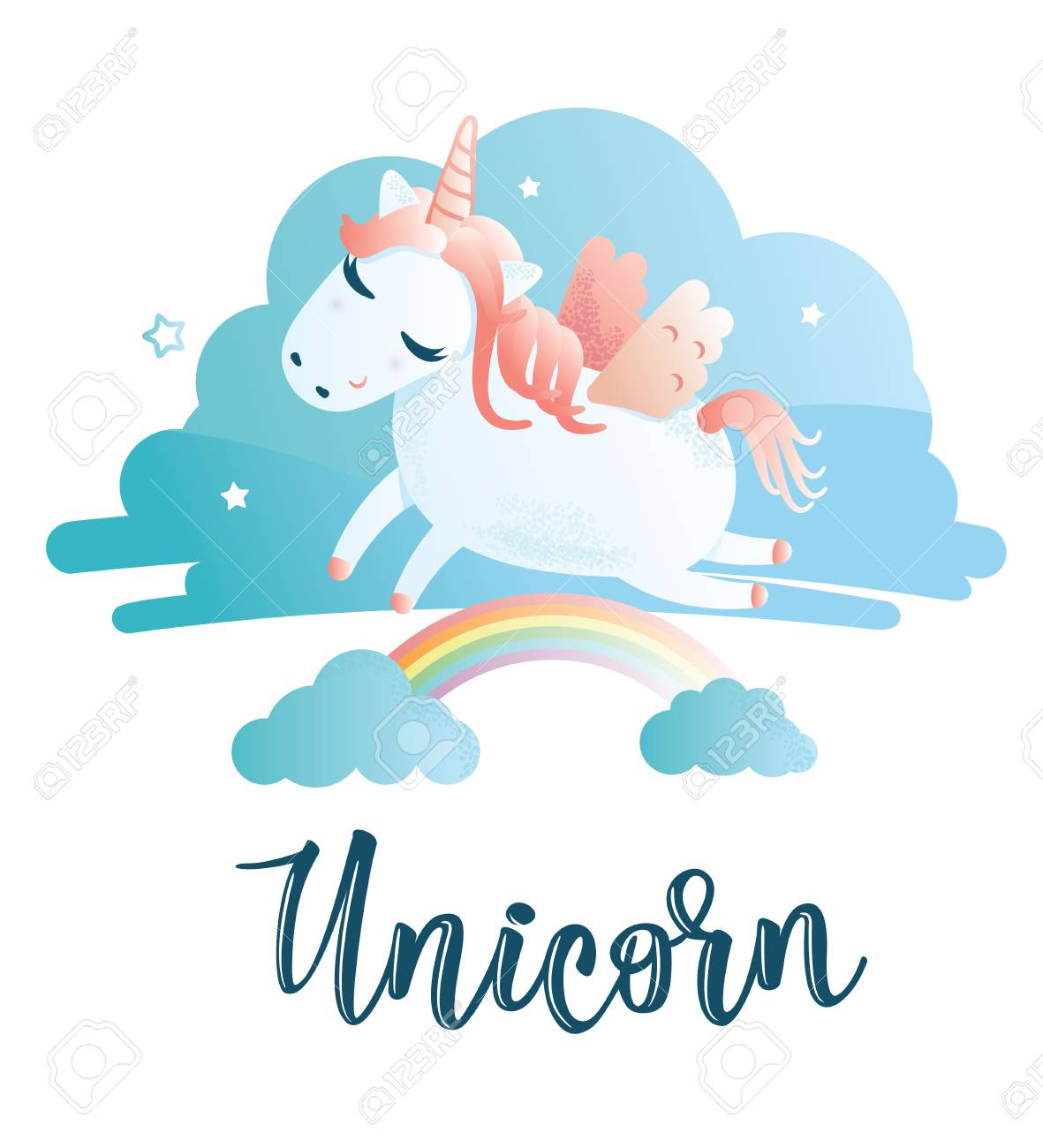 Vector Illustration Of A Cute Unicorn Greeting Card With Unicorn