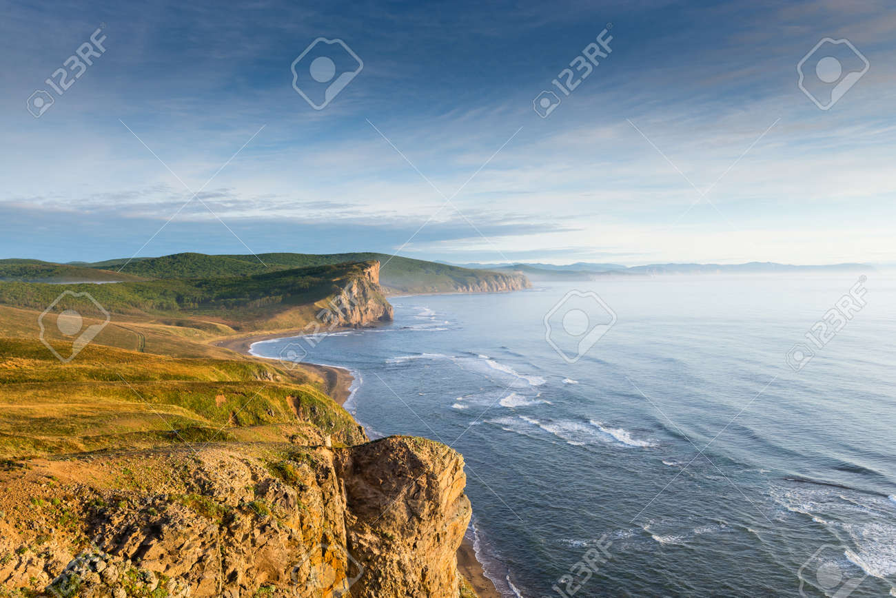 Russia. Far East. Seaside. Sea of Japan. The area of the village called Olga. Beautiful view of the Japanese Sea from the side of the cape named South. - 159805541