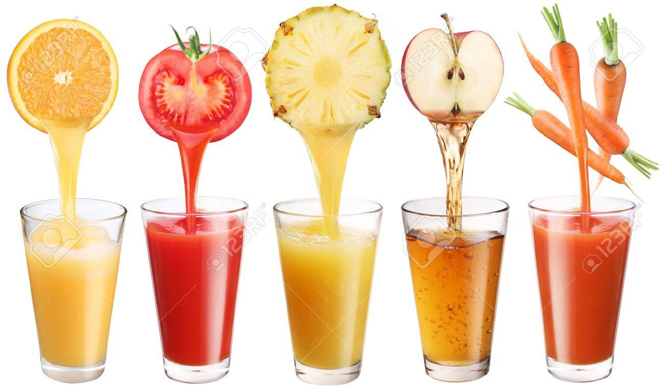 Conceptual image - fresh juice pours from fruits and vegetables in a glass. Photo on a white background. Stock Photo - 8658790