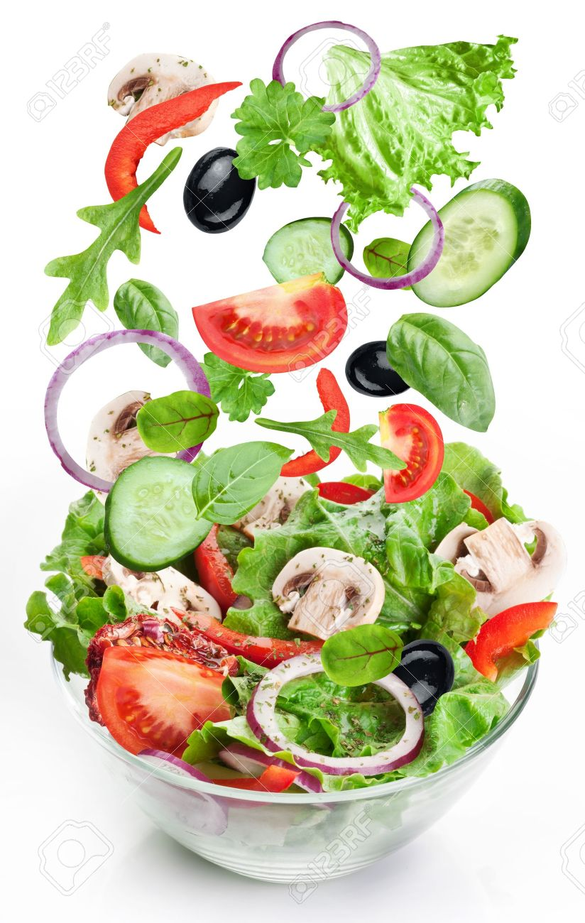Flying vegetables - salad ingredients. Isolated on a white background. Stock Photo - 11373556