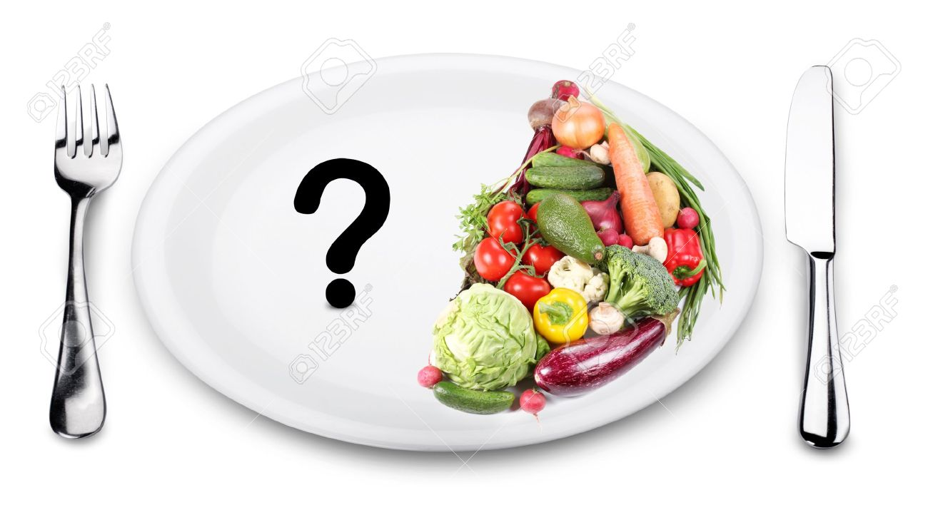 In the first half of the plate vegetables. On the other half of the plate - a question mark. Stock Photo - 14878988