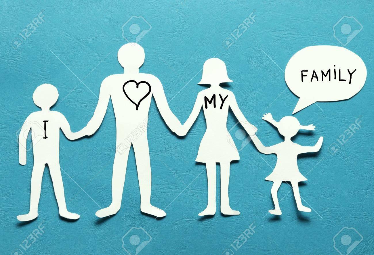 Figure Di Cartone Della Famiglia Su Uno Sfondo Blu Il Simbolo Di
