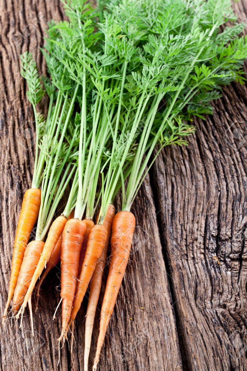 Carrots with leaves on a old wooden table Stock Photo - 15889809