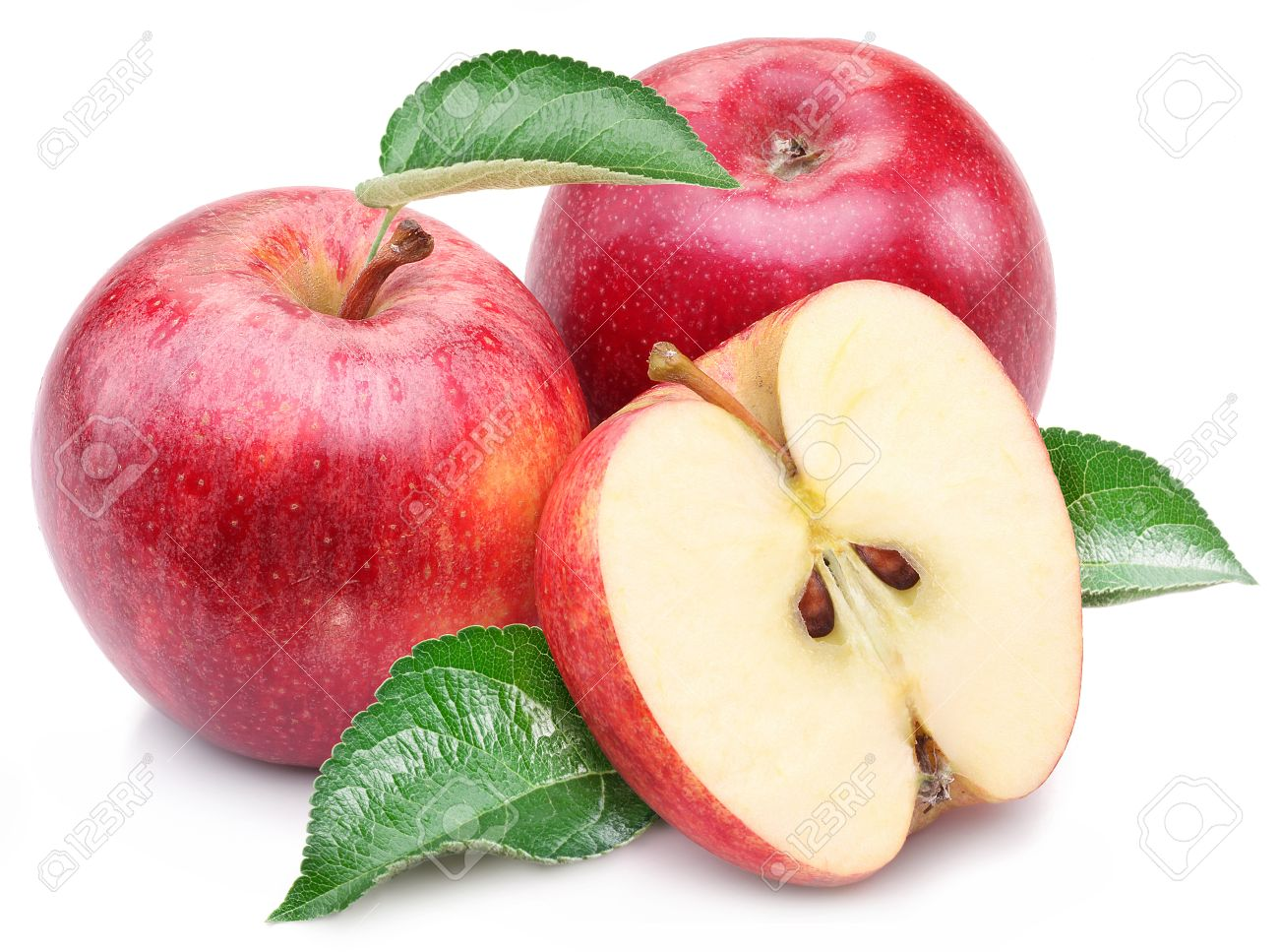 red apple slice. red apple with leaf and slice on a white background. stock photo - 18562695