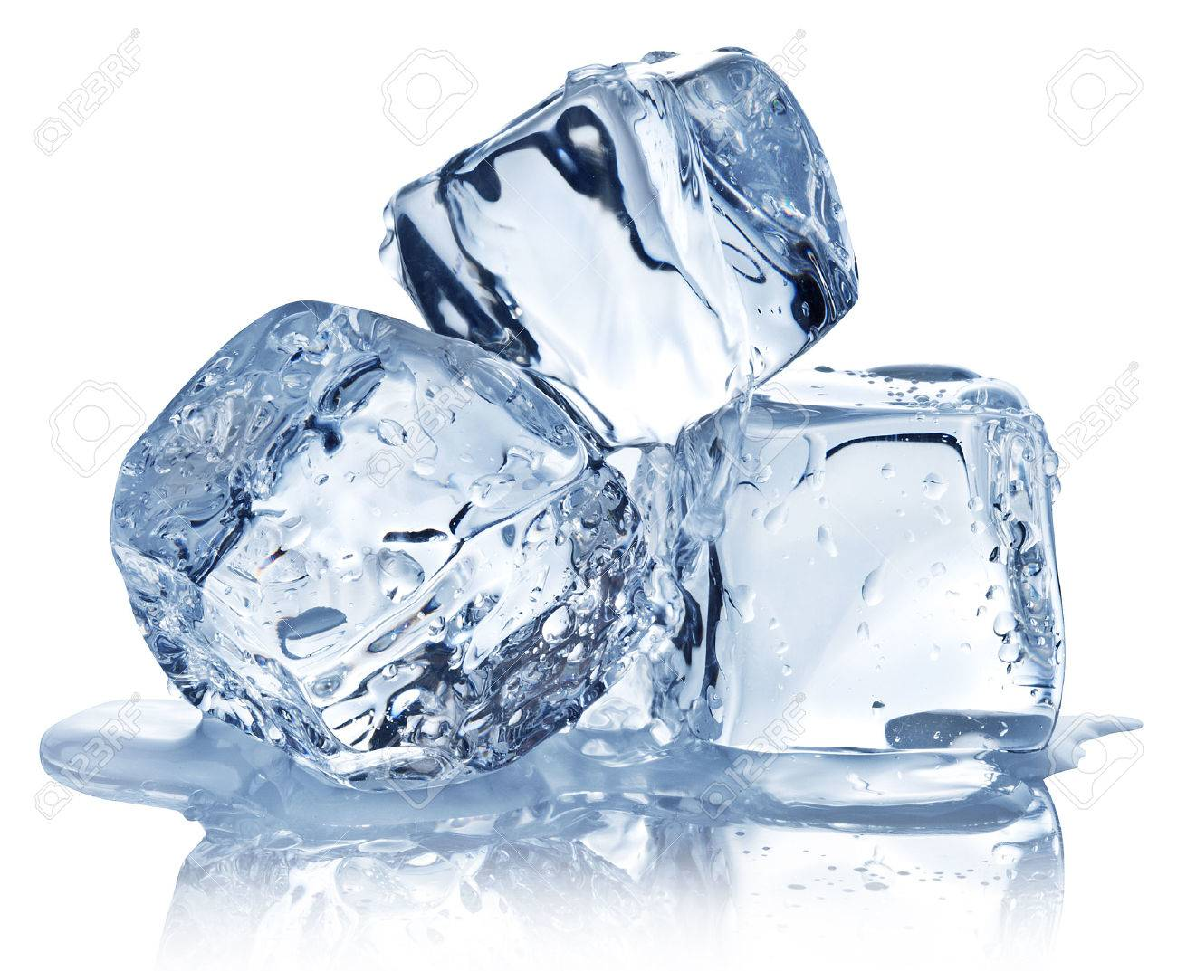 Three ice cubes on white background. Clipping pats. - 29977986