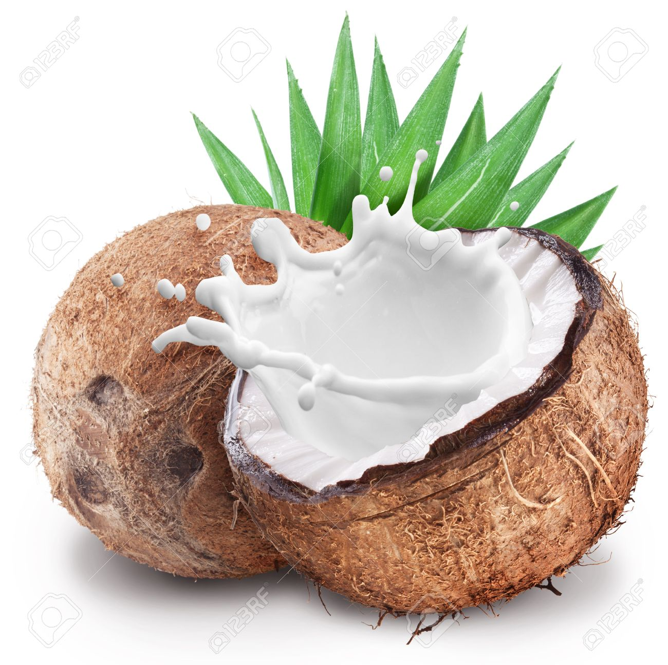 Coconut with milk splash inside. File contains clipping paths. Standard-Bild - 46556652