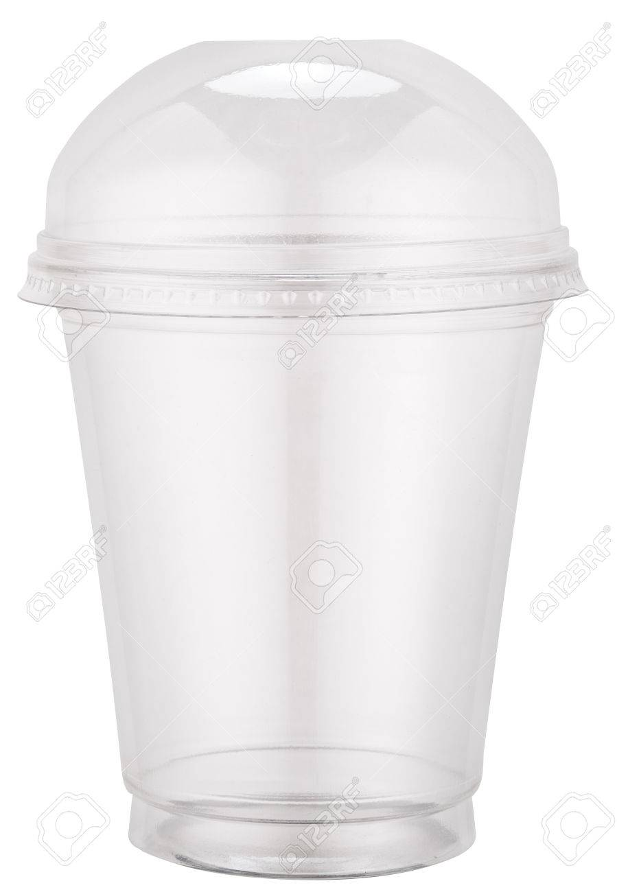 White plastic cup with cap. File contains clipping paths. Standard-Bild - 47421661