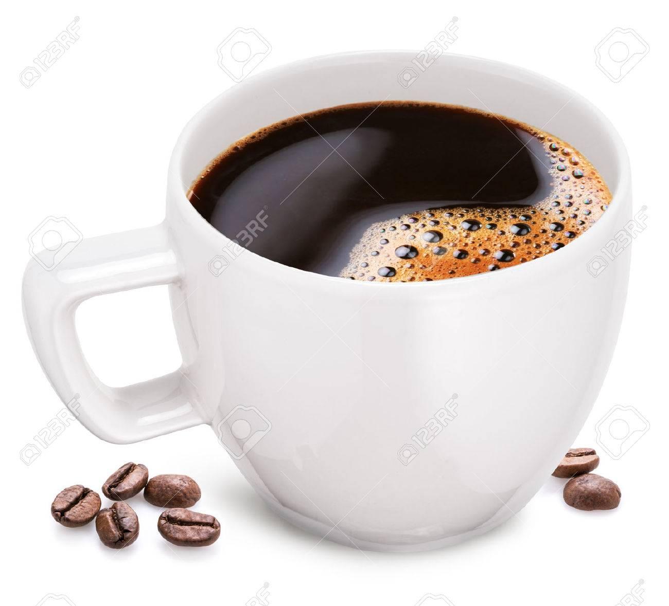 Tasse Kaffee Auf Einem Weißen Hintergrund. Die Datei Enthält Eine ...