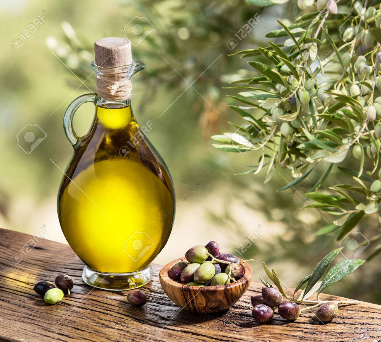 Olive oil and berries are on the wooden table under the olive tree. - 49092498