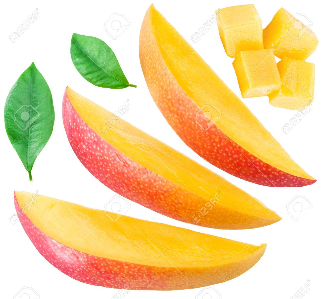 Slices of mango fruit and leaves over white. Standard-Bild - 53788943