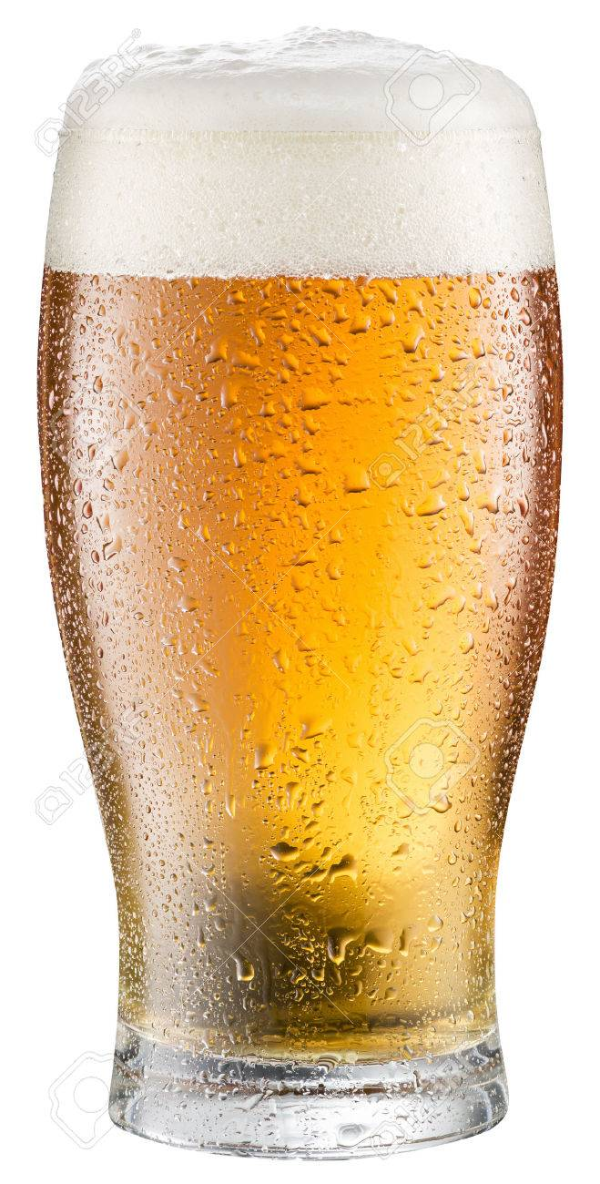 Glass of cold beer on a white background. - 54521936