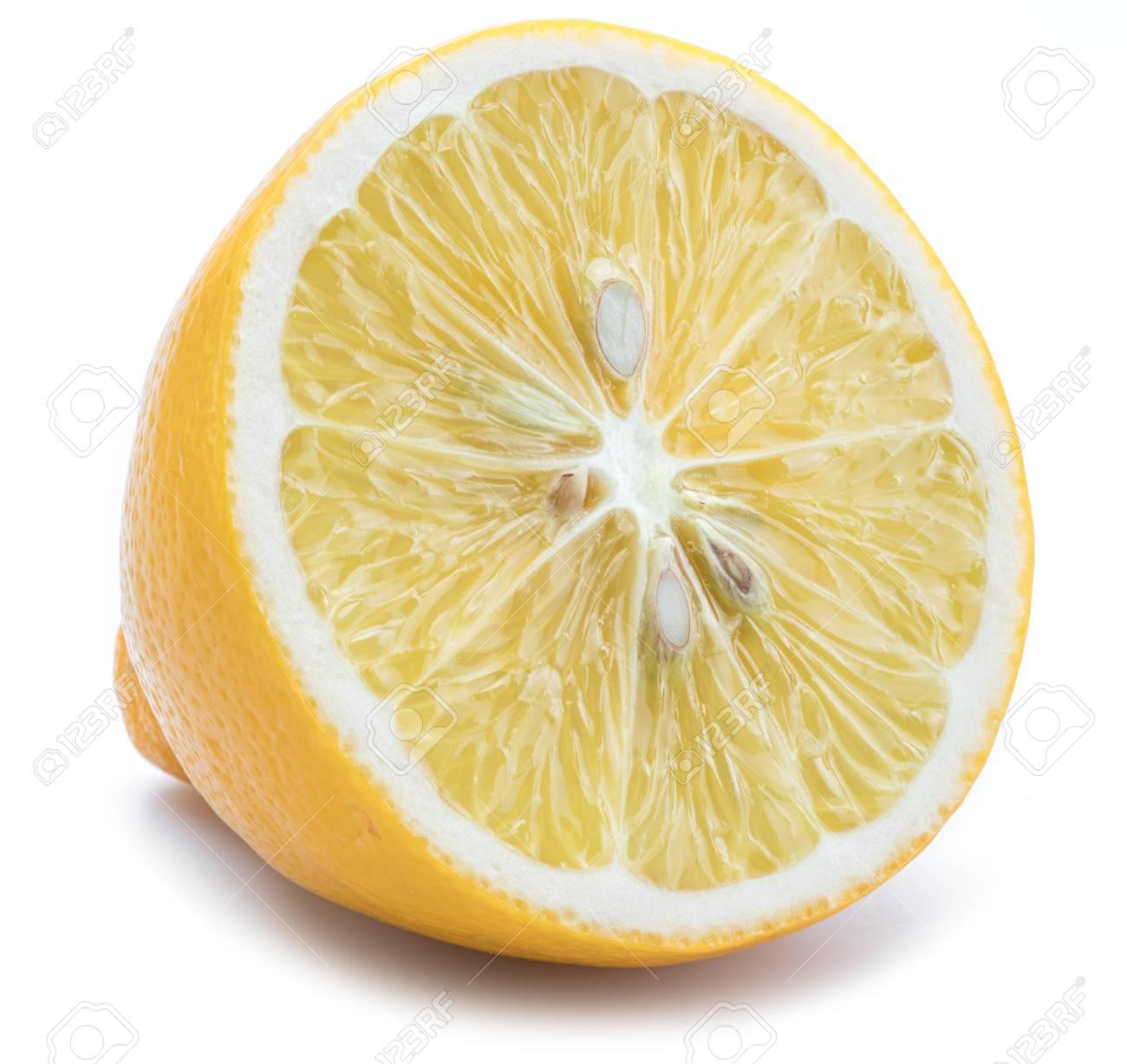 half a lemon or lemon slice on white background
