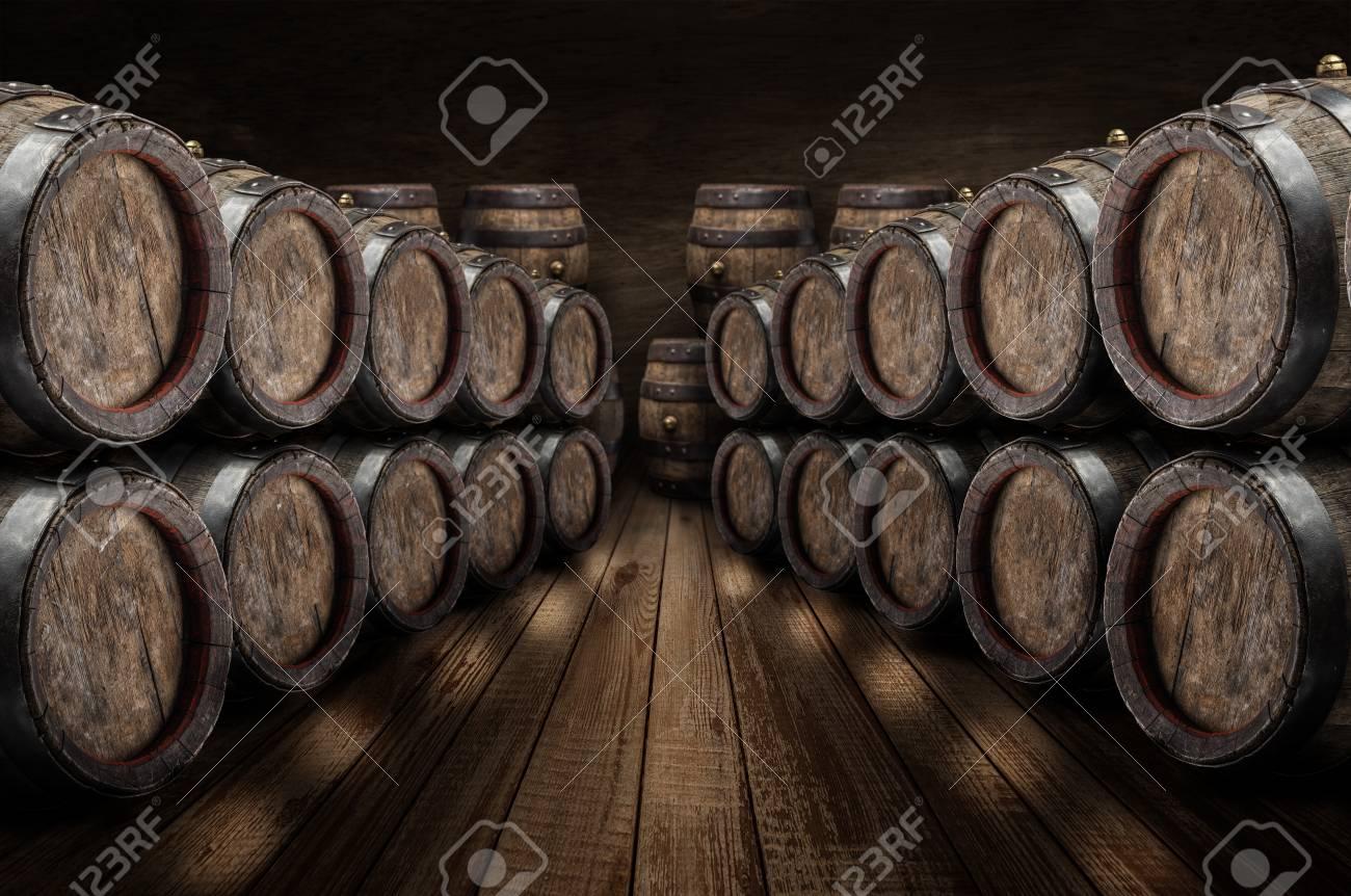 oak wine barrels.  Wine Foto De Archivo  Oak Wine Barrels In The Cellar Old Stone Wall At  Background Intended Wine Barrels