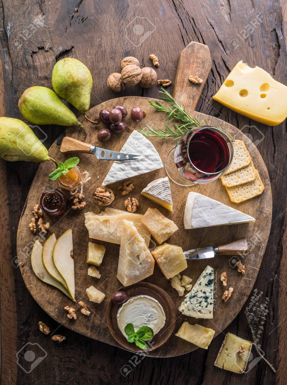 Cheese Platter With Organic Cheeses Fruits Nuts And Wine On Stock Photo Picture And Royalty Free Image Image 122746868