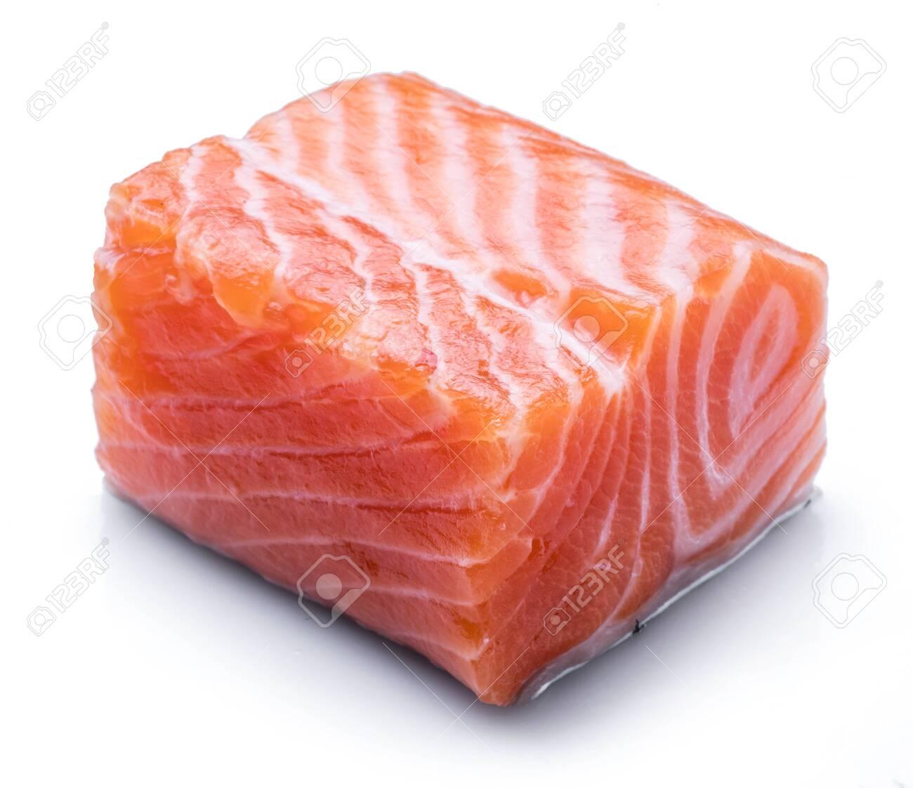 Fresh raw salmon fillet isolated on white background. - 136307753