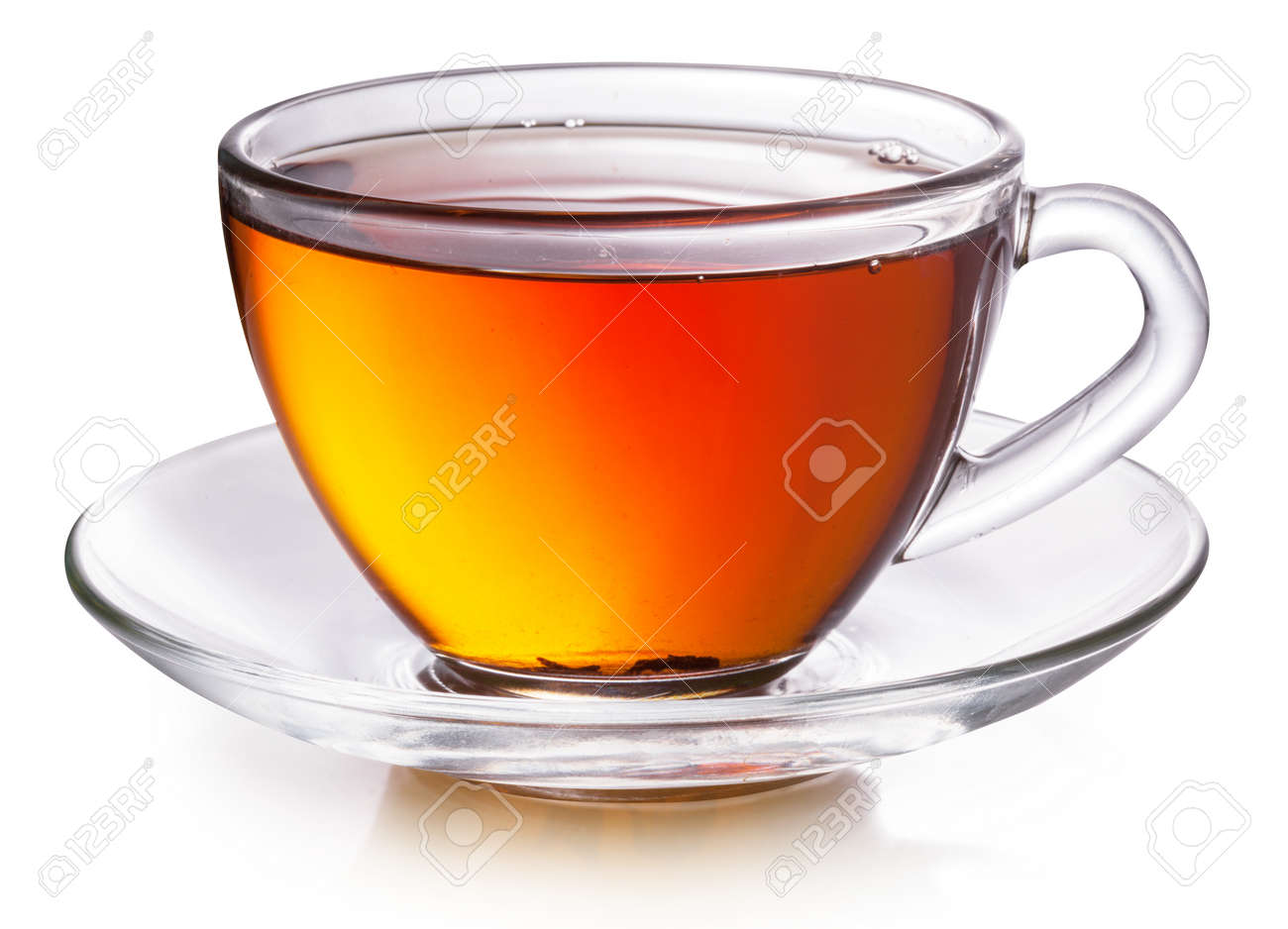 Glass cup with black tea isolated on a white background. - 147069177