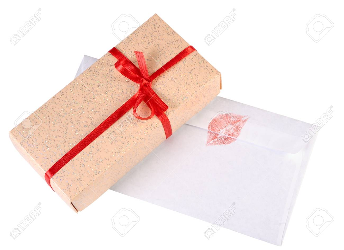 Gift box and love letter isolated on white Stock Photo - 17702106