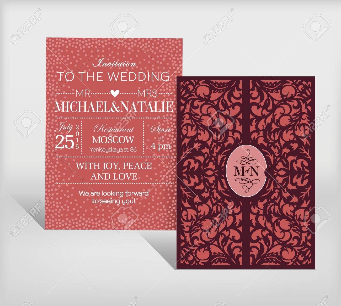 Curved Wedding Invitation Postcard. Royalty Free Cliparts, Vectors ...