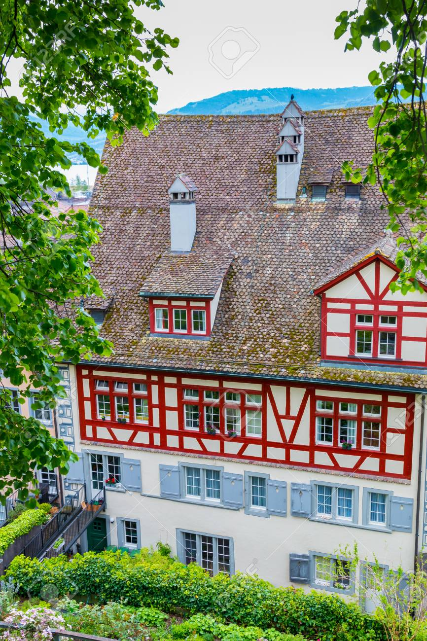 Colorful houses with red tile roofs in rapperswil switzerland stock photo 69677037