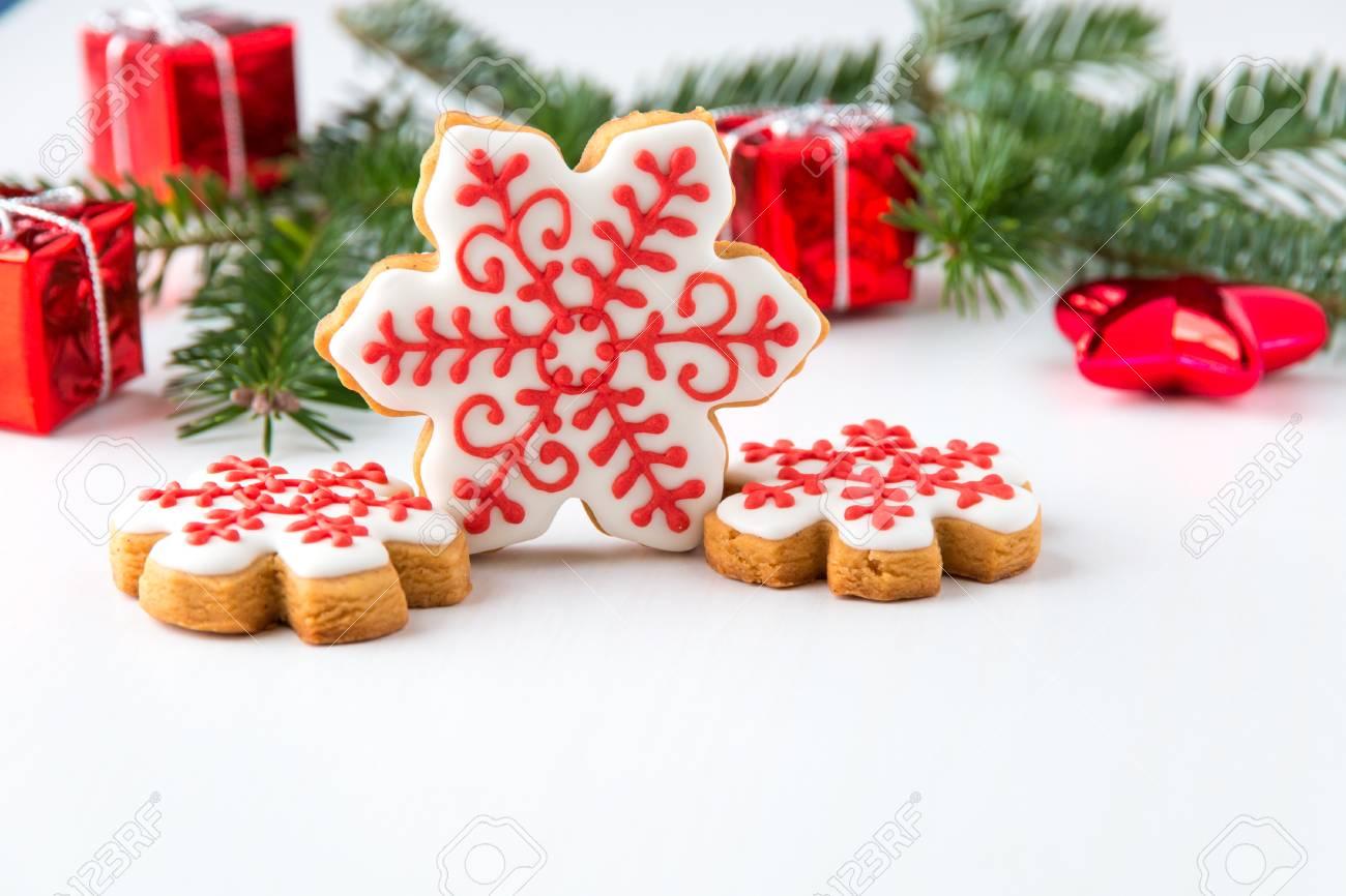 Homemade Snowflake Christmas Cookies Selective Focus