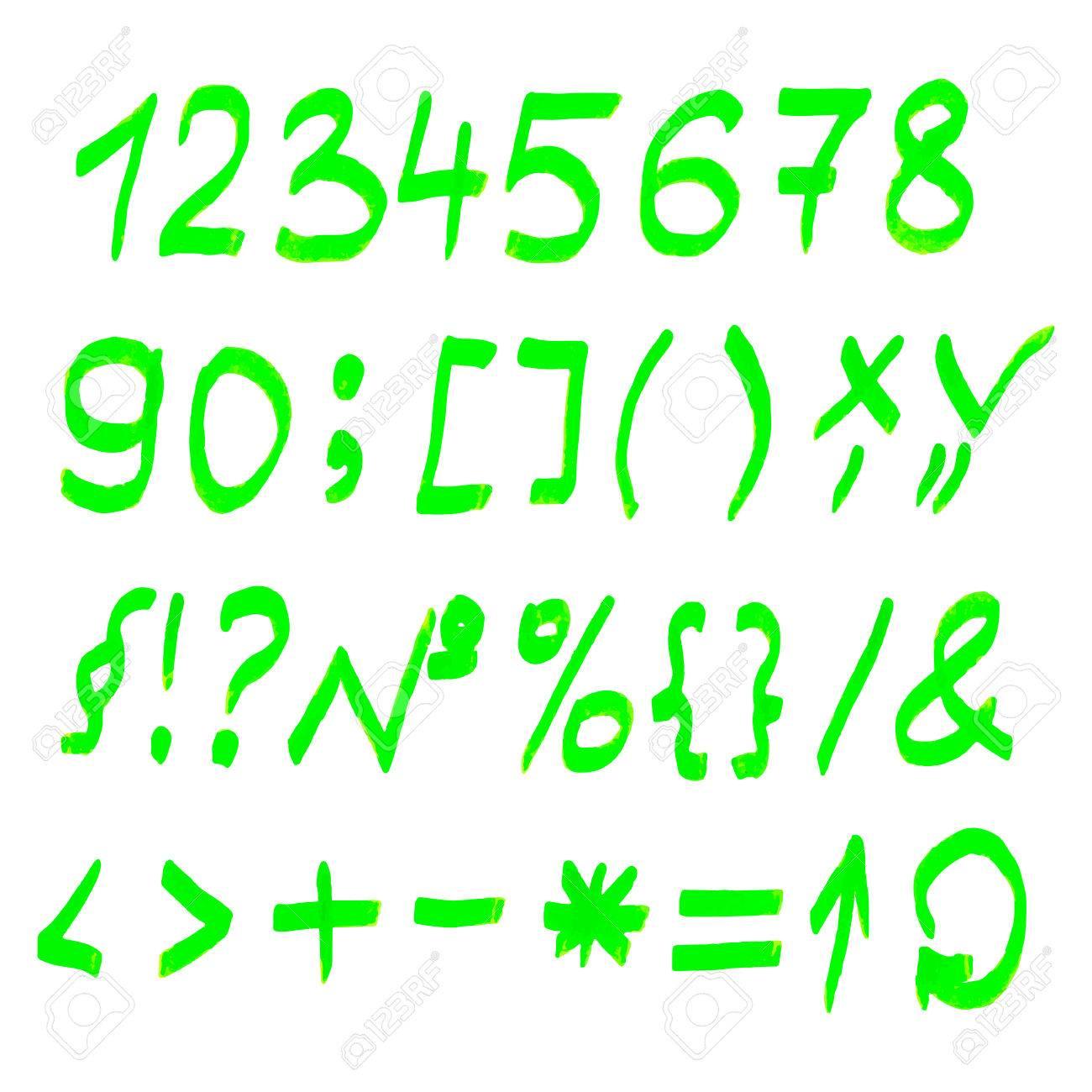 vector highlighter elements handwritten alphabet numbers