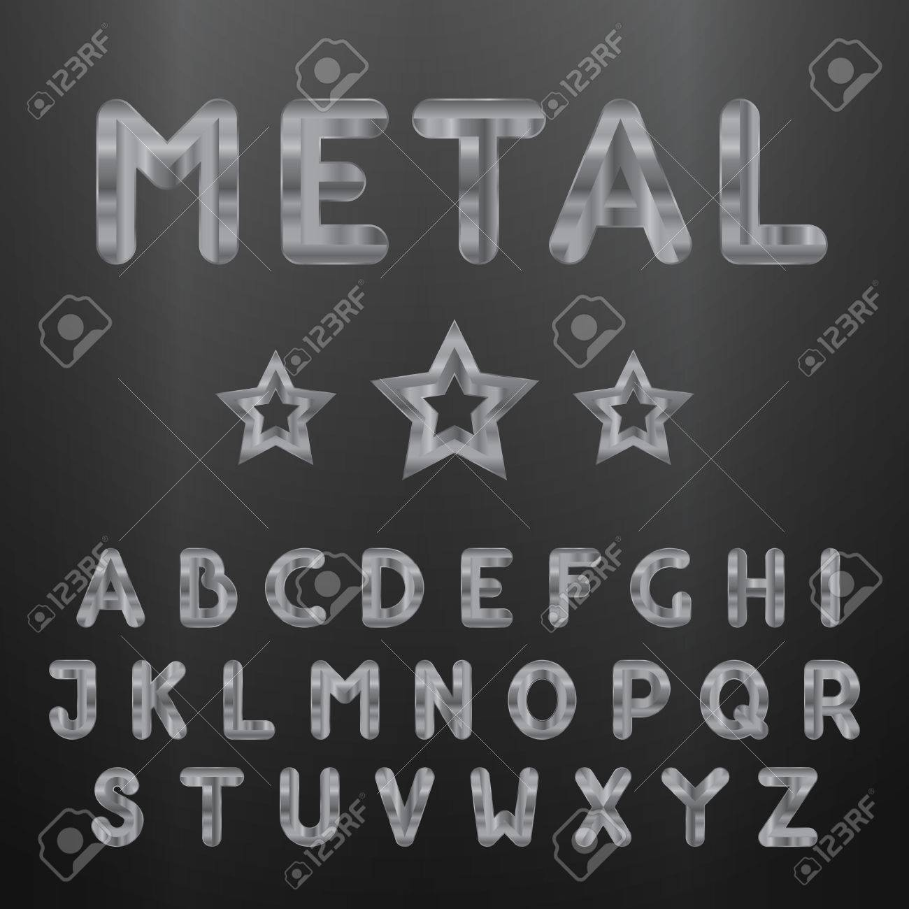 metallic alphabet set of stainless 3d letters vector letters