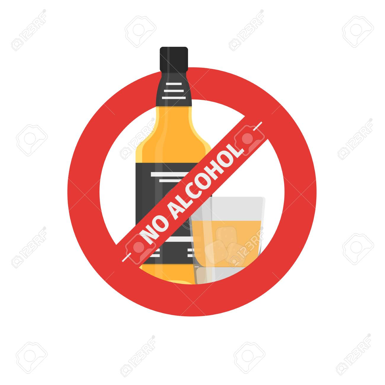 Vector flat stop drinking icon of alcohol bottle with glass,