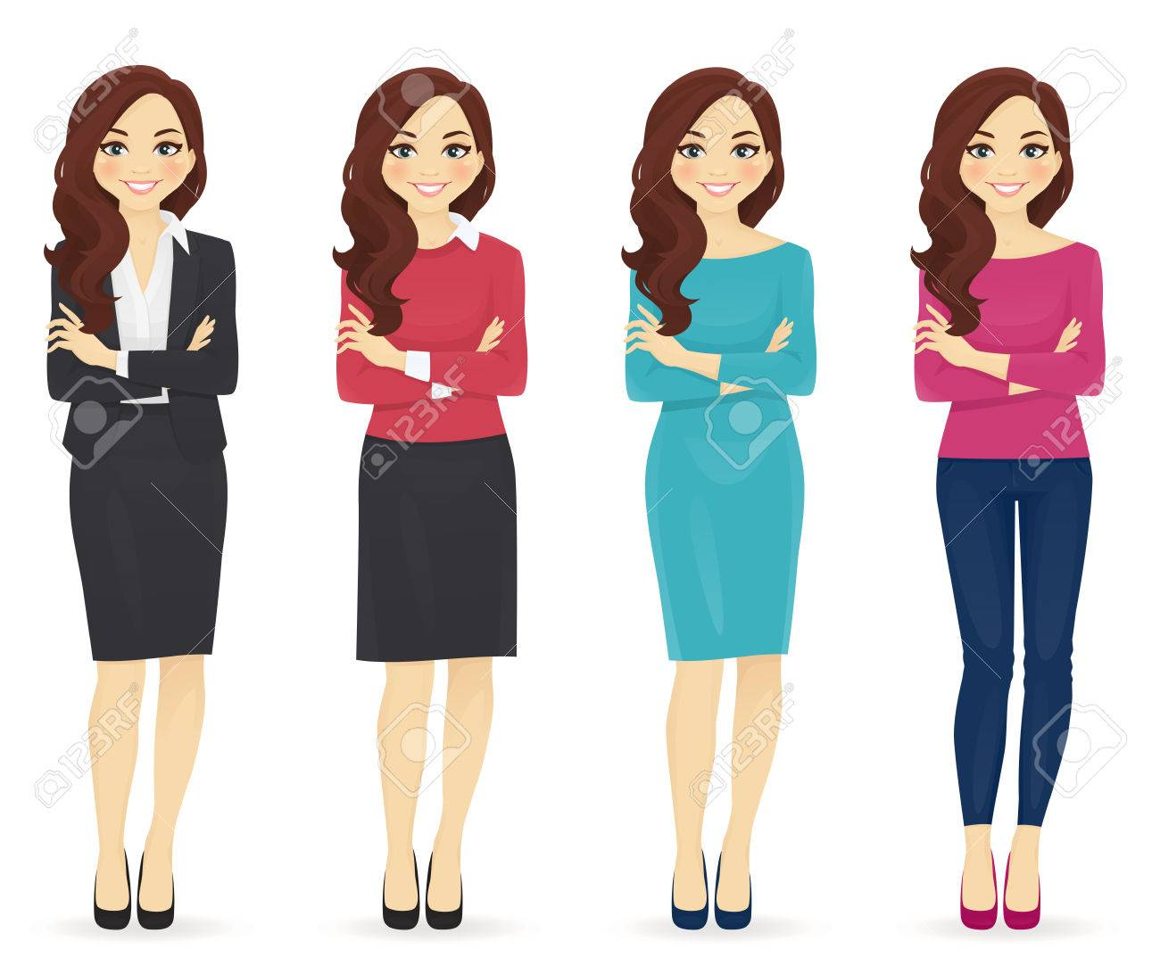 Smiling cute woman in different style clothes with arms crossed standing isolated on white background - 60632591