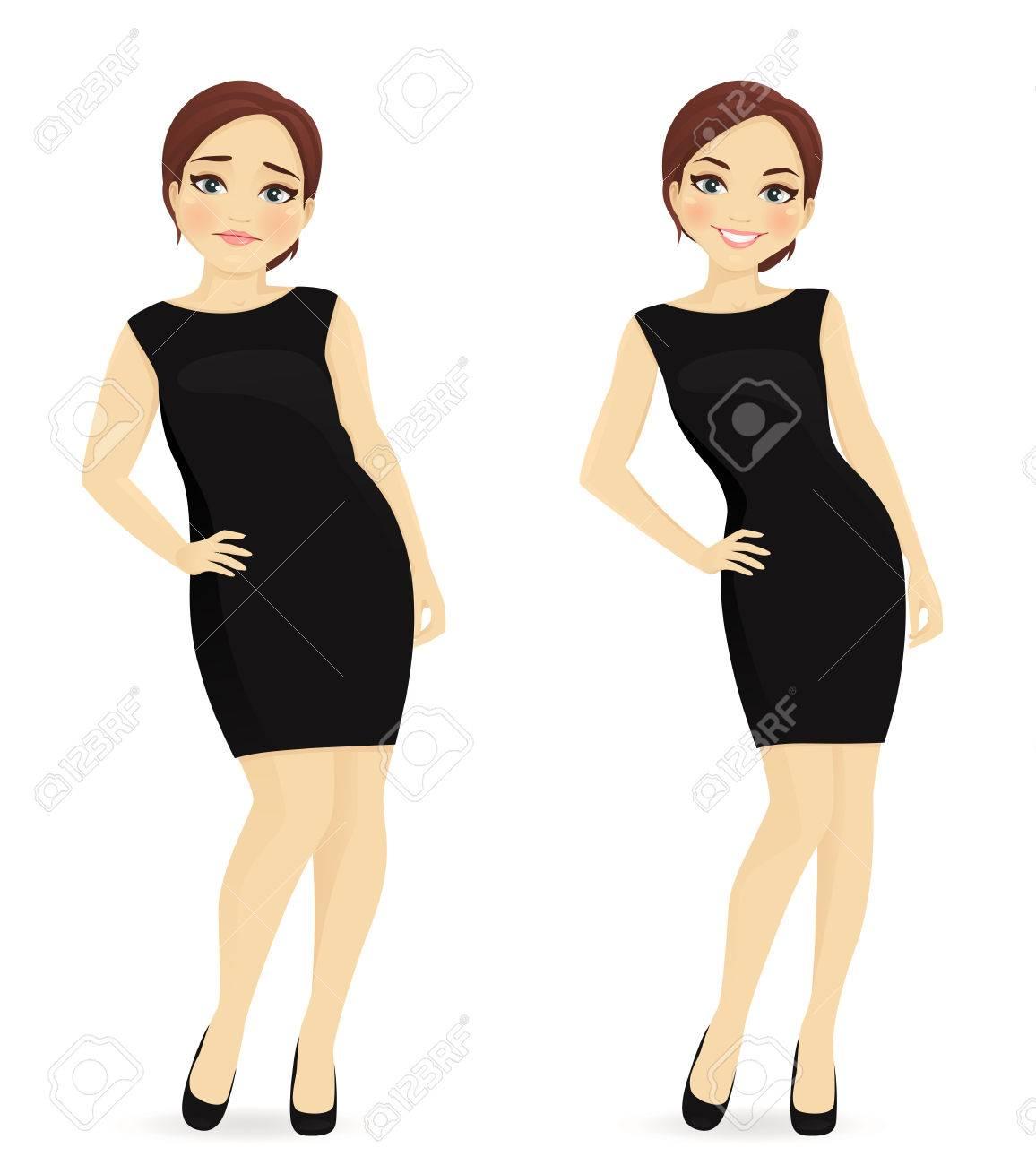 Vet en slanke vrouw, voor en na gewichtsverlies in zwarte jurk geïsoleerd