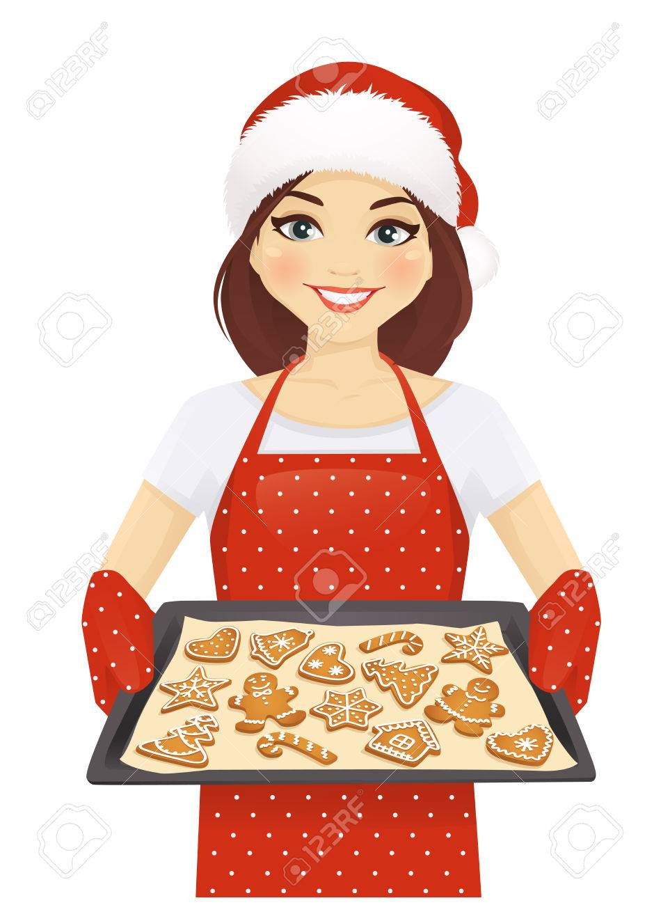 Baking Christmas Cookies Clipart.Smiling Woman Holding Baking Tray With Christmas Cookies Wearing