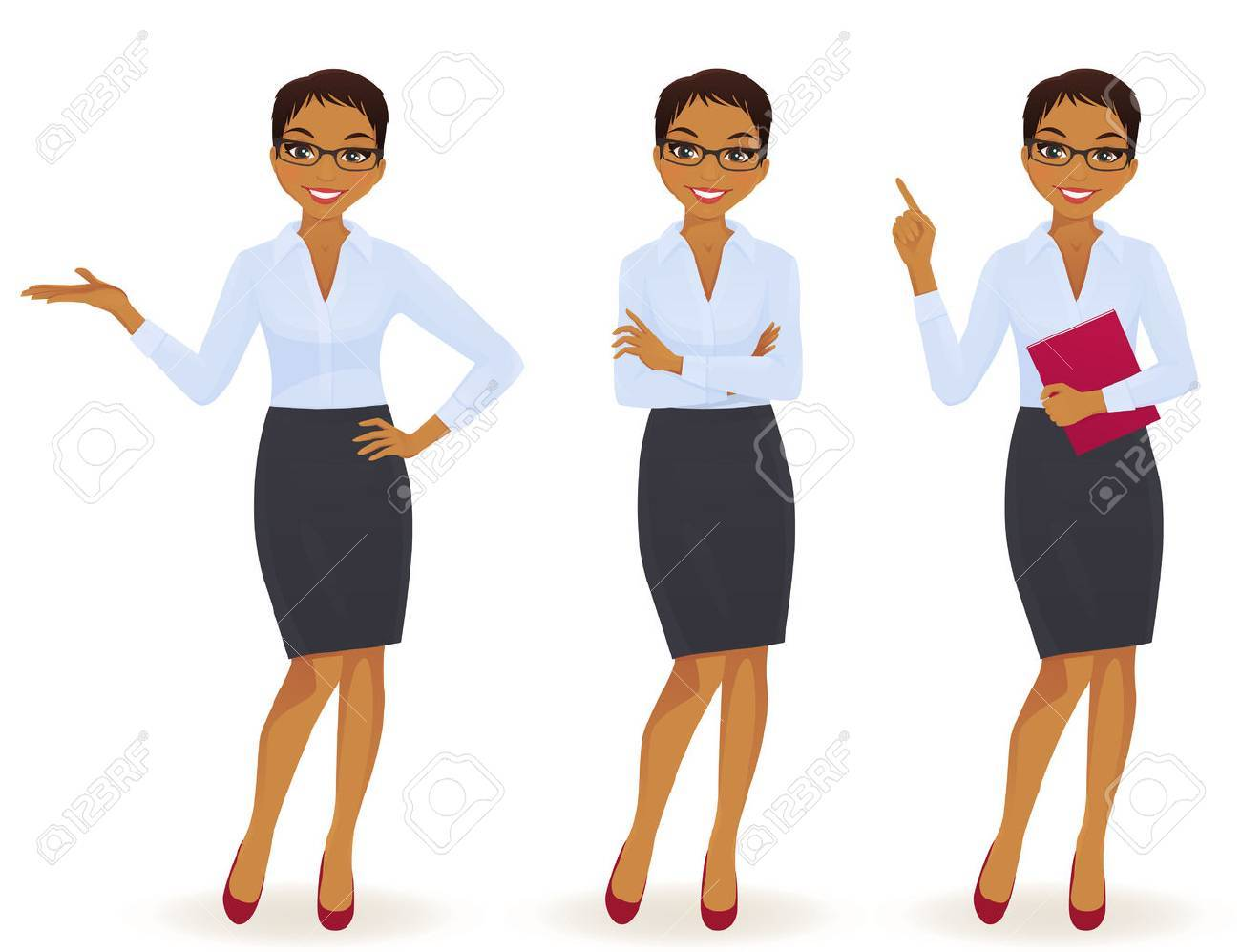 Elegant business woman in different poses isolated - 66461709