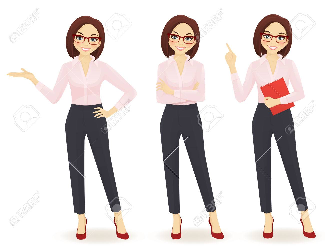 Elegant business woman in different poses isolated - 65795956