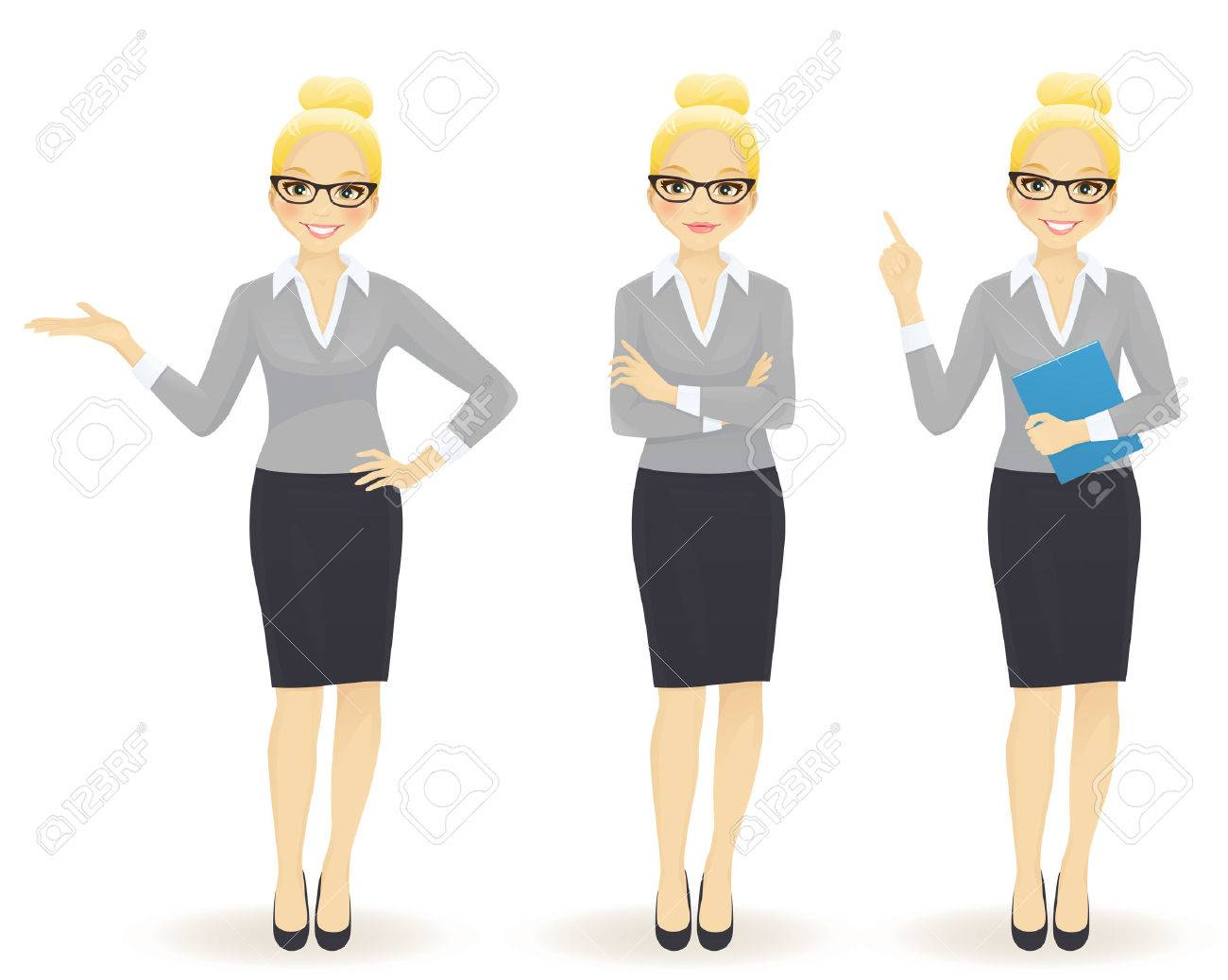 Elegant business woman in different poses isolated - 66095277