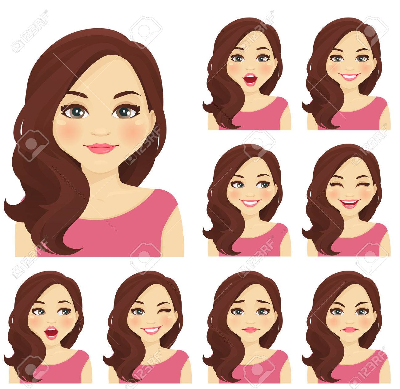 Blond woman with different facial expressions set isolated - 65795970