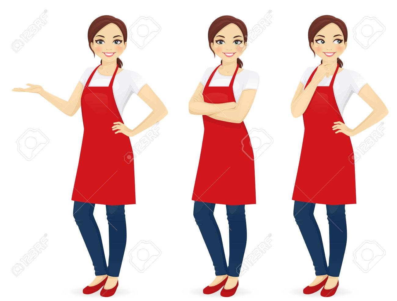 Beautiful woman in red upron standing in different poses isolated - 66438311