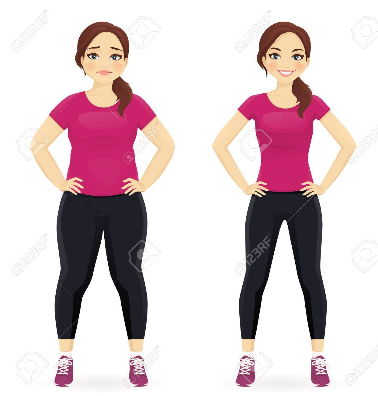 Fat and slim woman, before and after weight loss in sportswear isolated - 68882873