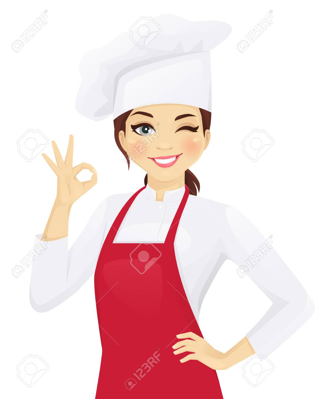 Confident chef woman gesturing ok sign vector illustration - 100959102
