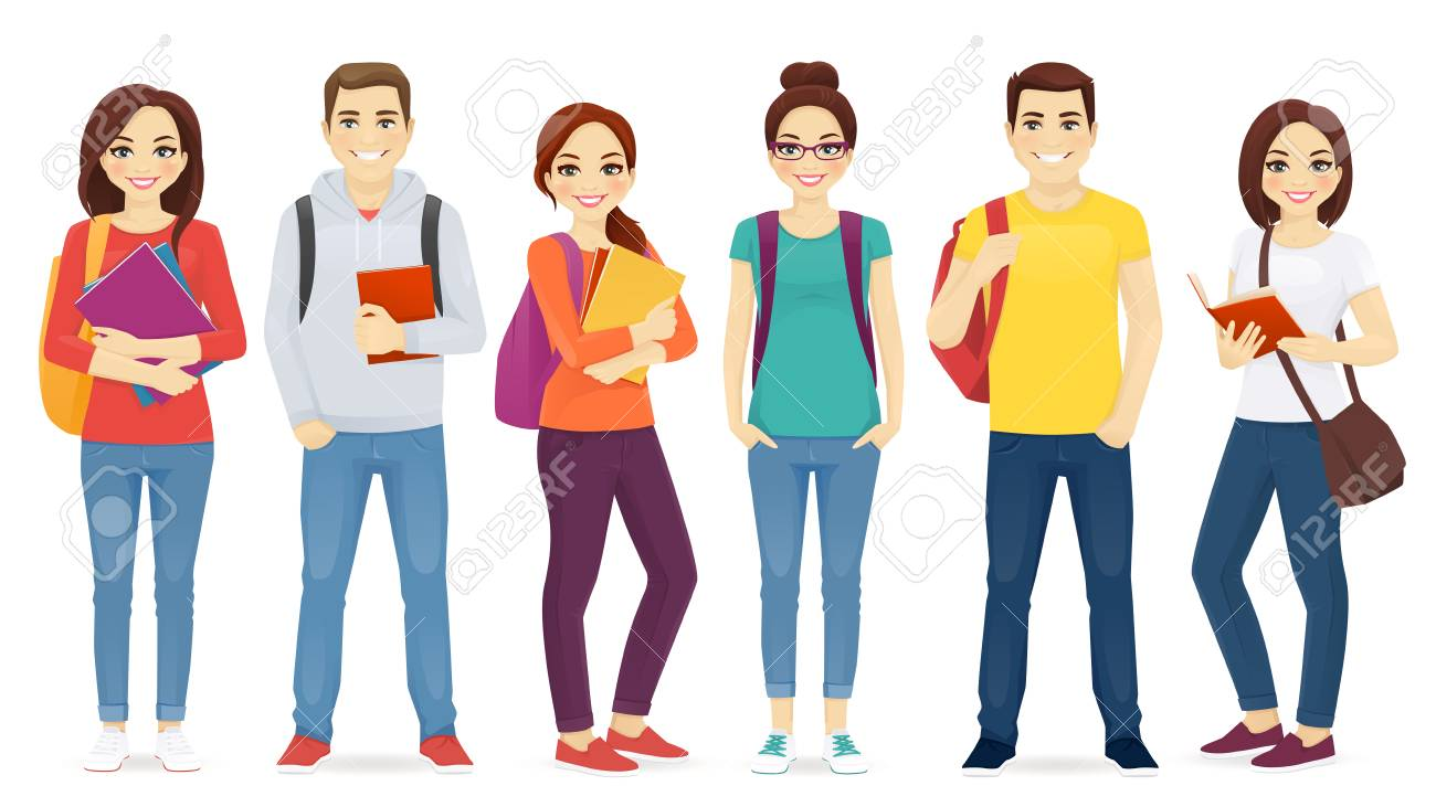 Student set with books and backpacks isolated - 103401017