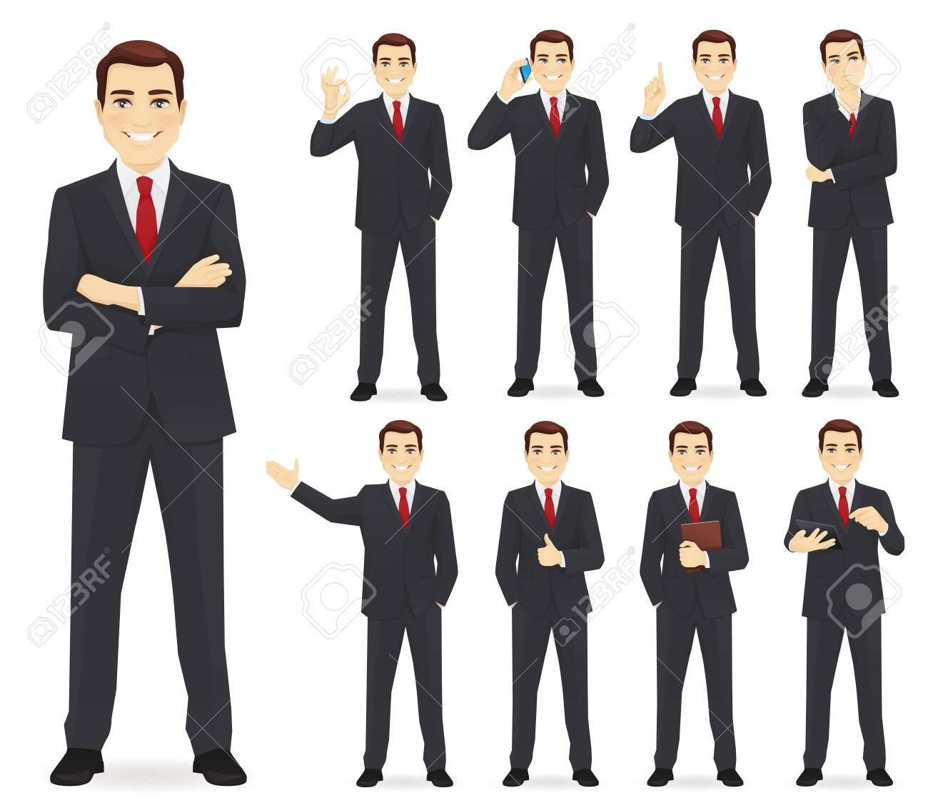 Business man set different gestures isolated vector illustration - 123541269