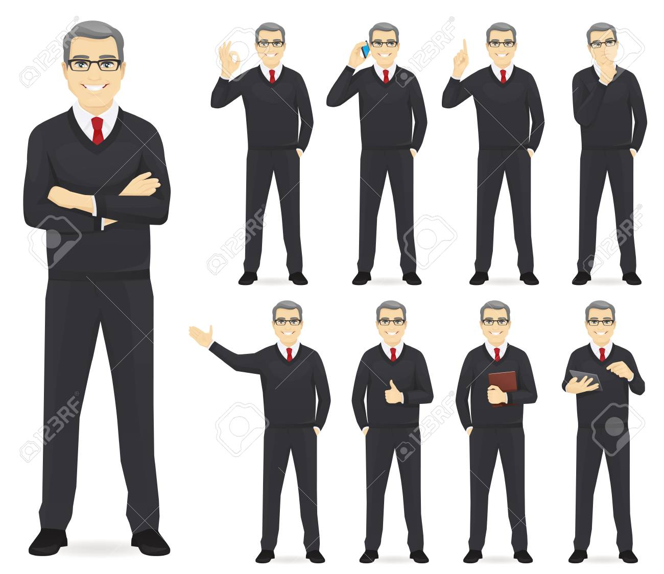 Business man set different gestures isolated vector illustration - 114843884