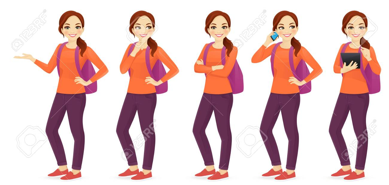Young woman with backpack set different gestures isolated - 123541273