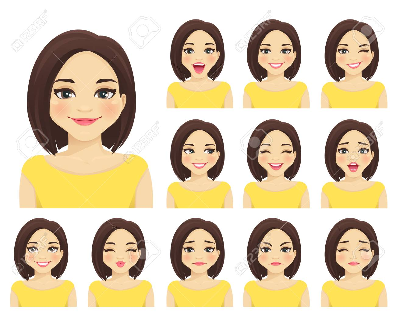 Woman with different facial expressions set isolated - 106281583