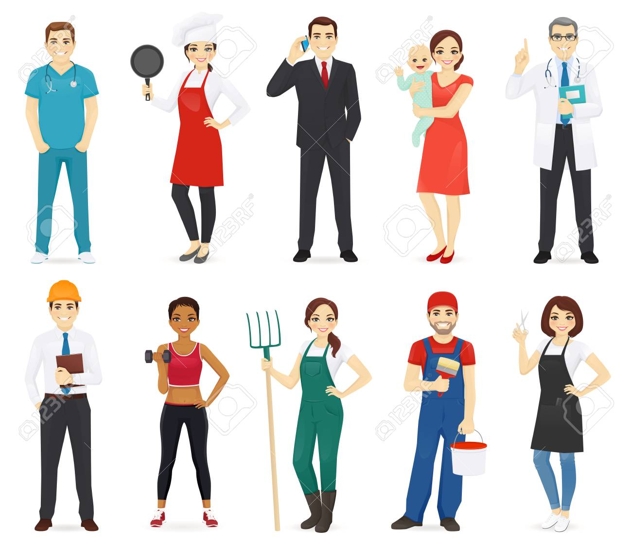People different profession collection set isolated vector illustration - 126739383