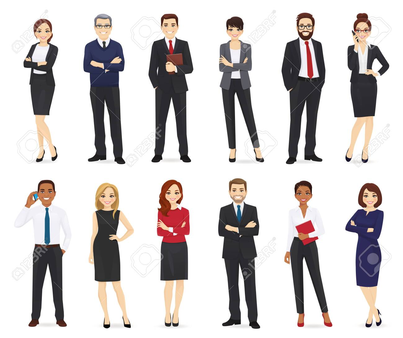 Business people, office workers set isolated vector illustration - 124576331