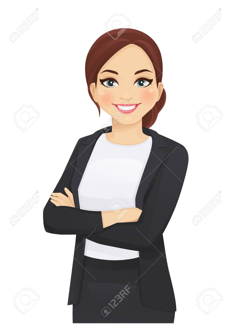 Portrait of elegant business woman with arms crossed isolated vector illustration - 123541429