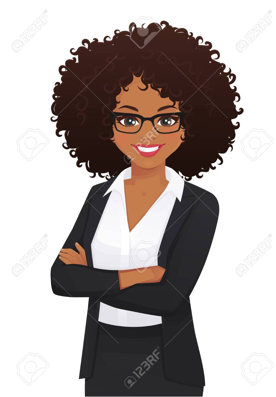Portrait of elegant business woman with arms crossed isolated vector illustration - 124144758