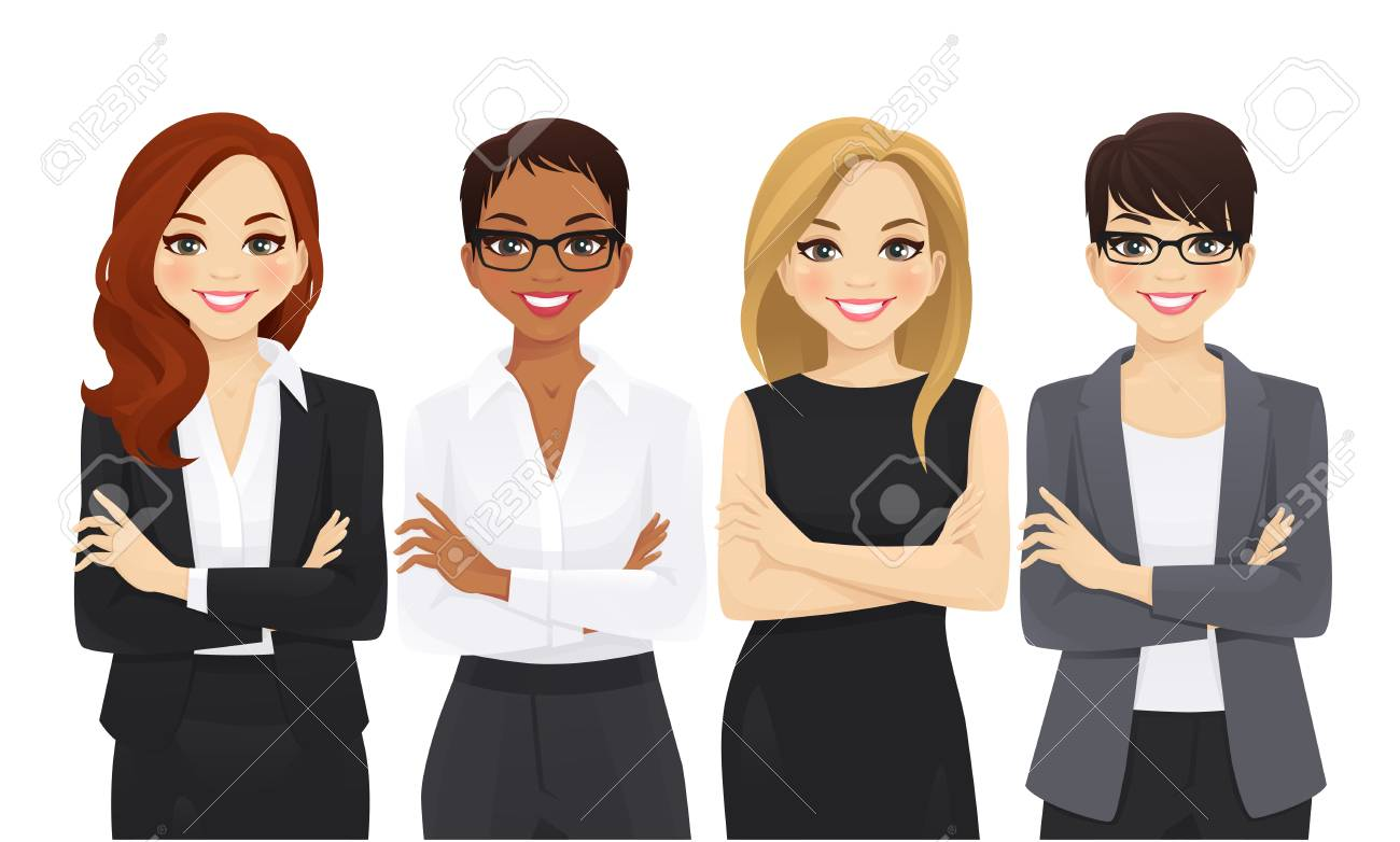 Business woman team set with arms crossed isolated vector illustration - 123933834