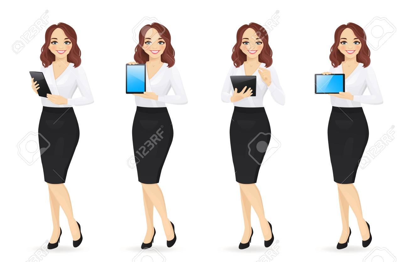 Business woman in different poses with tablet set isolated vector illustration. Using, holding, typing, showing blank screen - 122946400