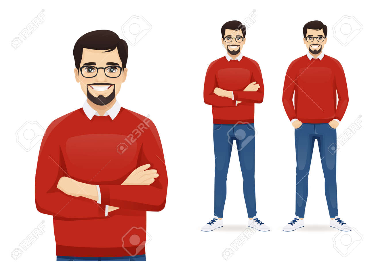 Man in casual clothes standing - 165845703